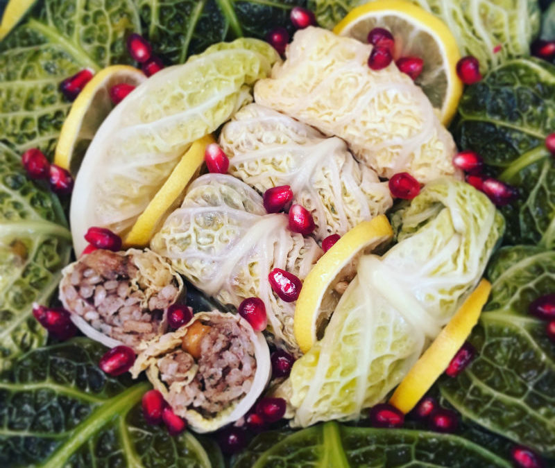 Cabbage Leaves stuffed with Chestnut & Spices