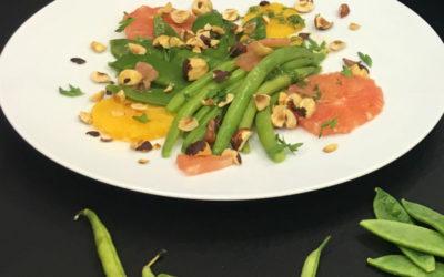 Snow peas & French Beans with Hazelnuts & Orange