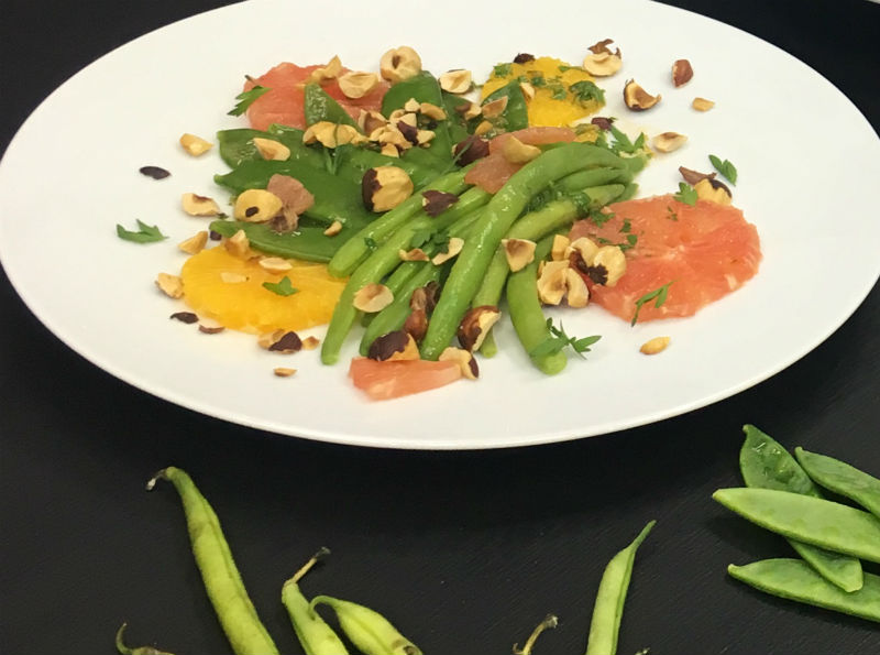 Snow peas & French Beans with Hazelnuts & Orange