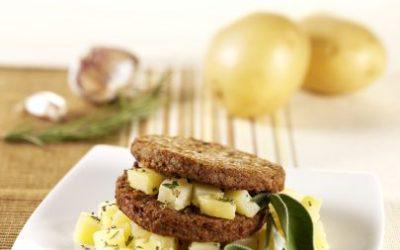 Vegetarian burger with potatoes